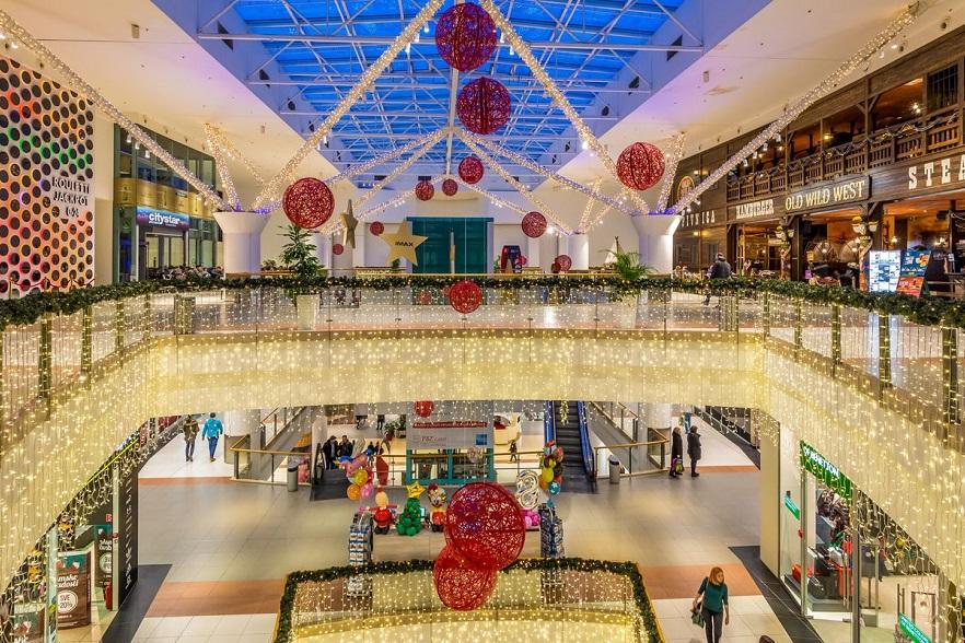 Mooie professionele feestverlichting voor winkel en winkelcentrum
